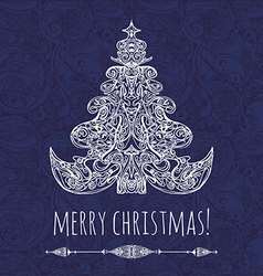 Christmas tree new year card vector