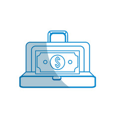 Contour suitcase with bill money inside vector
