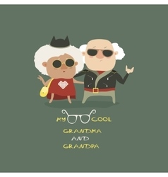 Cool grandma and grandpa wearing in leather jacket vector