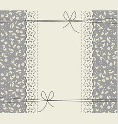 creative lace frame with flowers leaves and hearts vector image