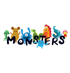 Cute monsters cartoon characters vector