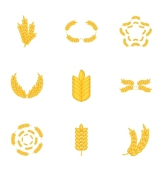 Elements with wheat icons set cartoon style vector image vector image