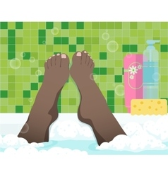 Female feet in bathroom vector image vector image