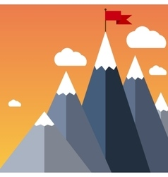 flat flag on mountain Success vector image vector image