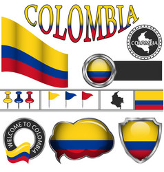 glossy icons with flag of colombia vector image vector image