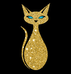 Golden cat with sapphire eyes vector