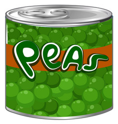 green peas in aluminum can vector image