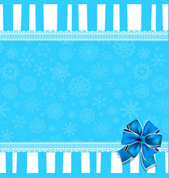 Greeting card with blue bow lace and copy space vector