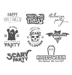 Halloween 2016 party vintage labels tee designs vector