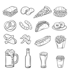 Hand drawn icons for street cafe vector