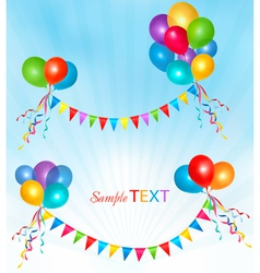holiday background with ballons and colorful flags vector image vector image