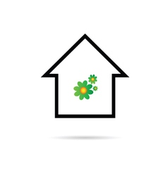 house with flower color vector image vector image