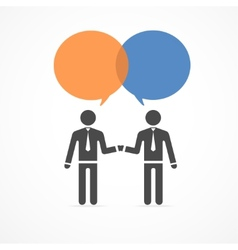 icon handshake and talk people vector image