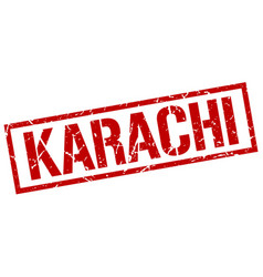 Karachi red square stamp vector