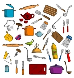 Kitchen utensils and kitchenware icons vector image