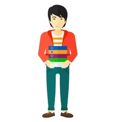 Man holding pile of folders vector image