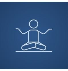 Man meditating in lotus pose line icon vector