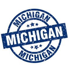 Michigan blue round grunge stamp vector