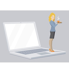 Miniature woman portrait secretary with c vector