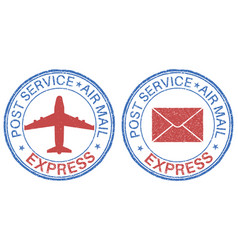 Post service express air mail postmarks vector