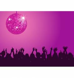 purple disco ball and crowd vector image vector image