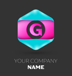 Realistic letter g logo in colorful hexagonal vector