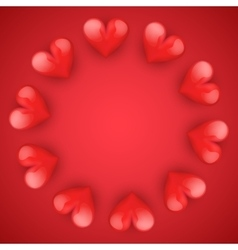 Realistic red romantic hearts circle vector