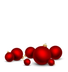 Red Christmas balls on white background vector image