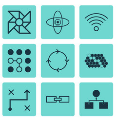 set of 9 machine learning icons includes solution vector image vector image