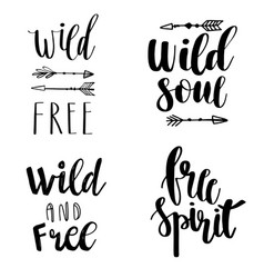 set of boho style lettering quotes and hand drawn vector image vector image
