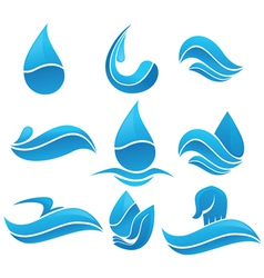 Set of water design elements signs and icons vector image vector image