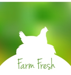 Silhouette of Hen in nest with text inside on blur vector image vector image
