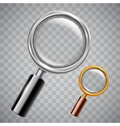 Silver and golden magnifying glass vector