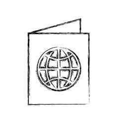 Sketch draw passport cartoon vector