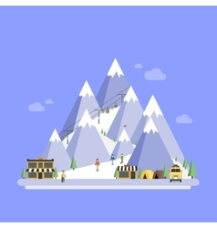 Ski Resort Mountain landscapes flat vector image