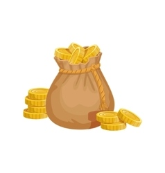 Small sack with golden coins hidden treasure and vector