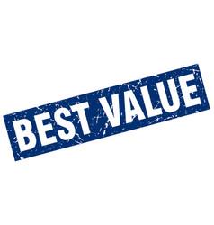 Square grunge blue best value stamp vector