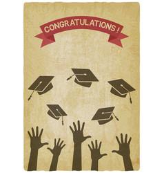Students throw graduation caps vector