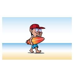 surfer mascot design vector image