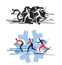 Three cross country skiers vector image vector image