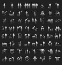 website and internet icons people vector image