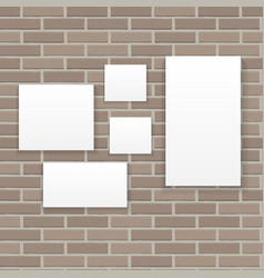 White frame on brick wall vector