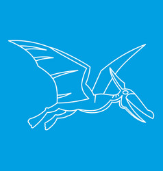winged dinosaur icon outline style vector image vector image