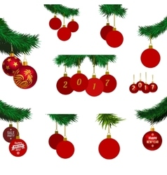 xmas tree branches with balls vector image vector image