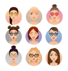 Set of 9 women avatars people characters vector