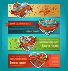 set of horizontal love banners vector image