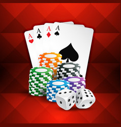 Playing cards with casino coins and dice vector