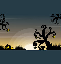 halloween scenery with tree and pumpkin vector image