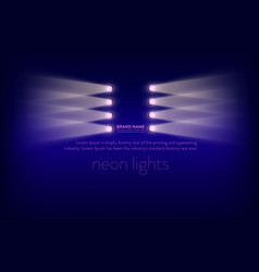 Abstract purple banner with neon spotlights vector