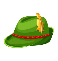 Hunting hat with feather and rope vector